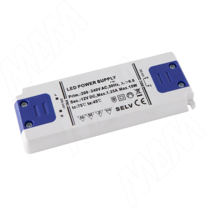 Блок питания, тонкий, AC-230/DC-12V, IP31, 15W (LSA-PS12V-IP31S-15W)