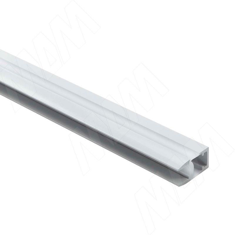 Профиль GL1 для торцевой подсветки стеклянной полки 4-8 мм, накладной, белый матовый, 23х12мм, L-2000 фото товара 1 - LSP-GL1-PC-2000-WT
