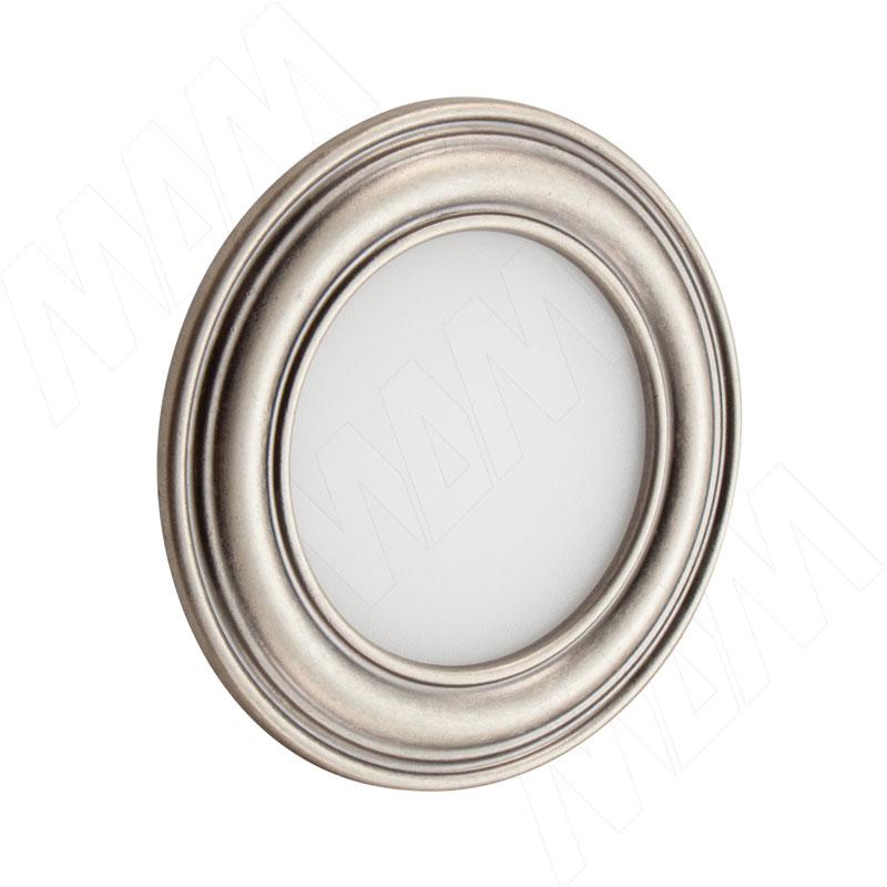 PASSEPARTOUT Точечный светильник круглый, серебро состаренное, 12V, теплый белый 3000К, 3W (PA12-RNO-ASWW3) passepartout точечный светильник круглый бронза состаренная 12v теплый белый 3000к 3w pa12 rno agww3
