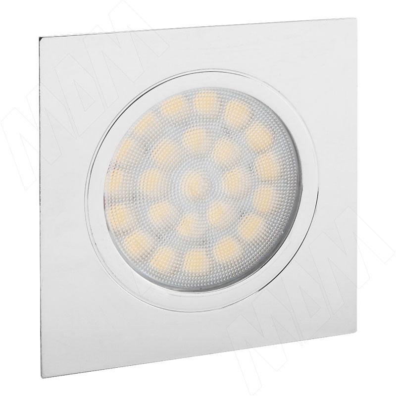 POINT Светодиодный светильник точечный квадратный, хром, 12V, нейтральный белый 4000К, 2W (PO12-QNO-NW2) vega светодиодный светильник точечный круглый серебро 12v нейтральный белый 4500к 2 2w ve12 rno mcr nw2