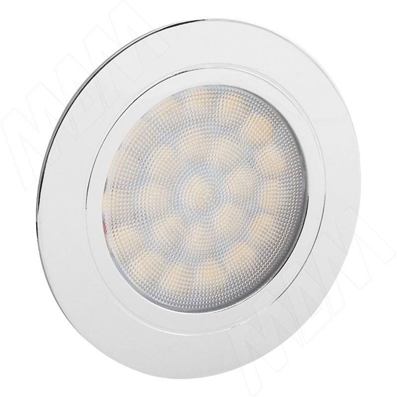 POINT Светодиодный светильник точечный круглый, хром, 12V, нейтральный белый 4000К, 2W (PO12-RNO-NW2) vega светодиодный светильник точечный круглый серебро 12v нейтральный белый 4500к 2 2w ve12 rno mcr nw2