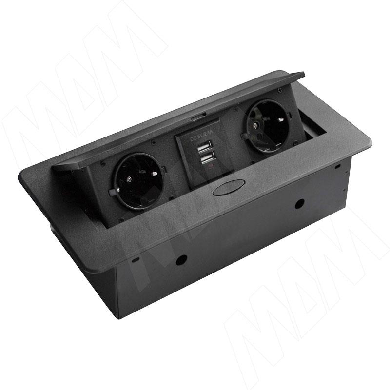 Выдвижной блок розеток, 266*130 мм, 2 розетки, USB, черный (RBS-2S-2USB-BL)