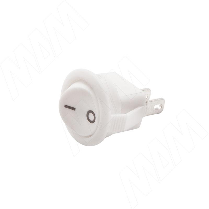 Выключатель круглый, врезной, клавишный, d=16,5 мм, белый (SW-SN-R)