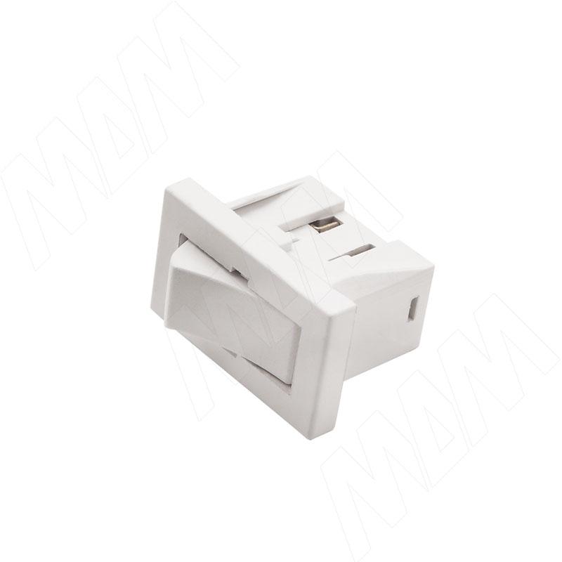 Выключатель прямоугольный, врезной, клавишный, 27х16 мм, белый (SW-SN-S)