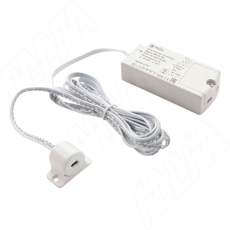 Выключатель инфракрасный (IR) на преграду, белый, 220V, 250W (SW2-DS-1WT)