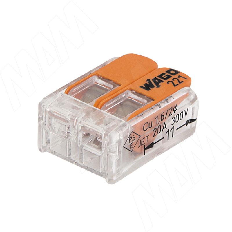 цена 221 Клемма двойная с рычажком, для проводов 0.14-4.0 кв.мм, ток 32А (WA-221-412) онлайн в 2017 году