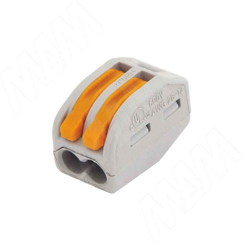 222 Клемма двойная с рычажком, для проводов 0.08-4.0 кв.мм, ток 32А (WA-222-412)