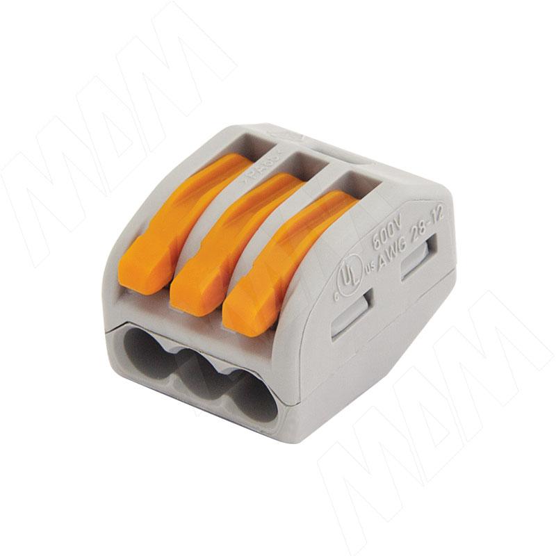 цена 222 Клемма тройная с рычажком, для проводов 0.08-4.0 кв.мм, ток 32А (WA-222-413) онлайн в 2017 году