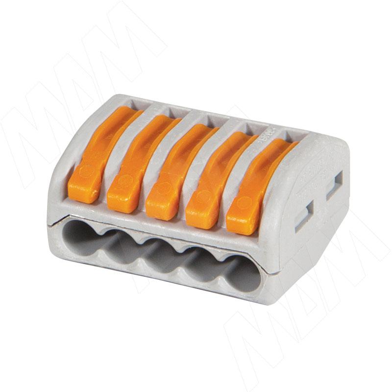 222 Клемма на пять подключений с рычажком, для проводов 0.08-4.0 кв.мм, ток 32А (WA-222-415)