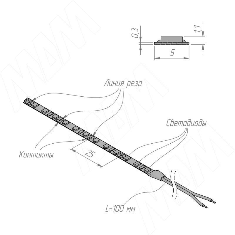 Лента светодиодная 2835/120, 12V, основание 5 мм, 5 м, холодный белый 6000К, IP20, 9.6W/1м фото товара 4 - LS12-2835CW20-9.6C8