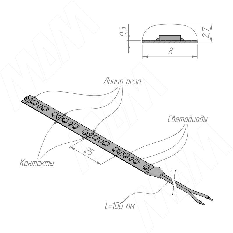 Лента светодиодная 2835/120, 12V, 5 м, нейтральный белый 4000К, IP65, 9.6W/1м фото товара 4 - LS12-2835NW65-9.6
