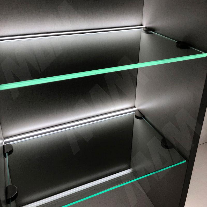 Профиль GL1 для торцевой подсветки стеклянной полки 4-8 мм, накладной, белый матовый, 23х12мм, L-2000 фото товара 4 - LSP-GL1-PC-2000-WT