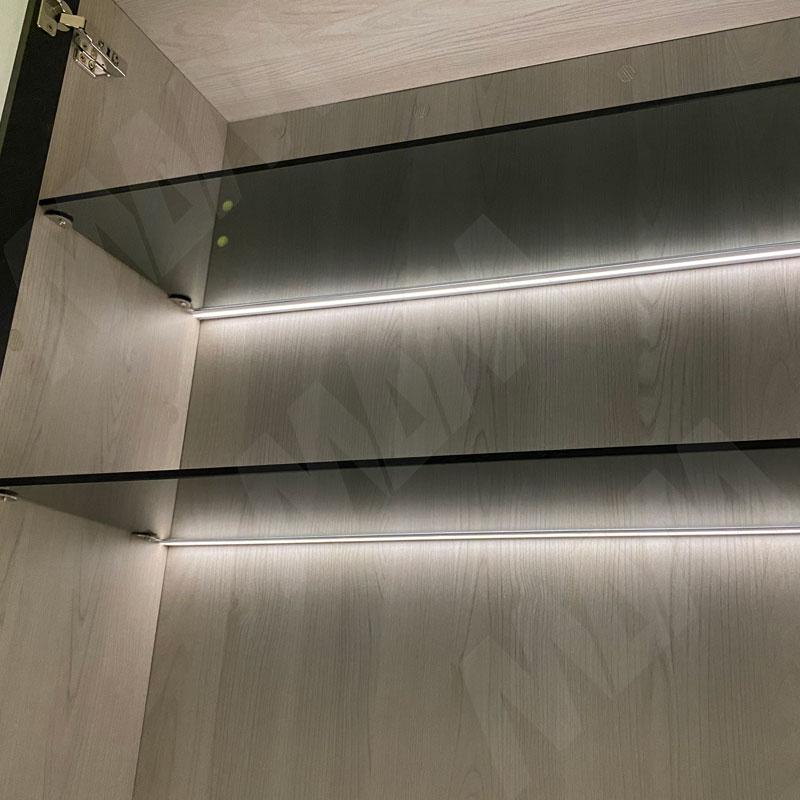 Профиль GL1 для торцевой подсветки стеклянной полки 4-8 мм, накладной, белый матовый, 23х12мм, L-2000 фото товара 6 - LSP-GL1-PC-2000-WT