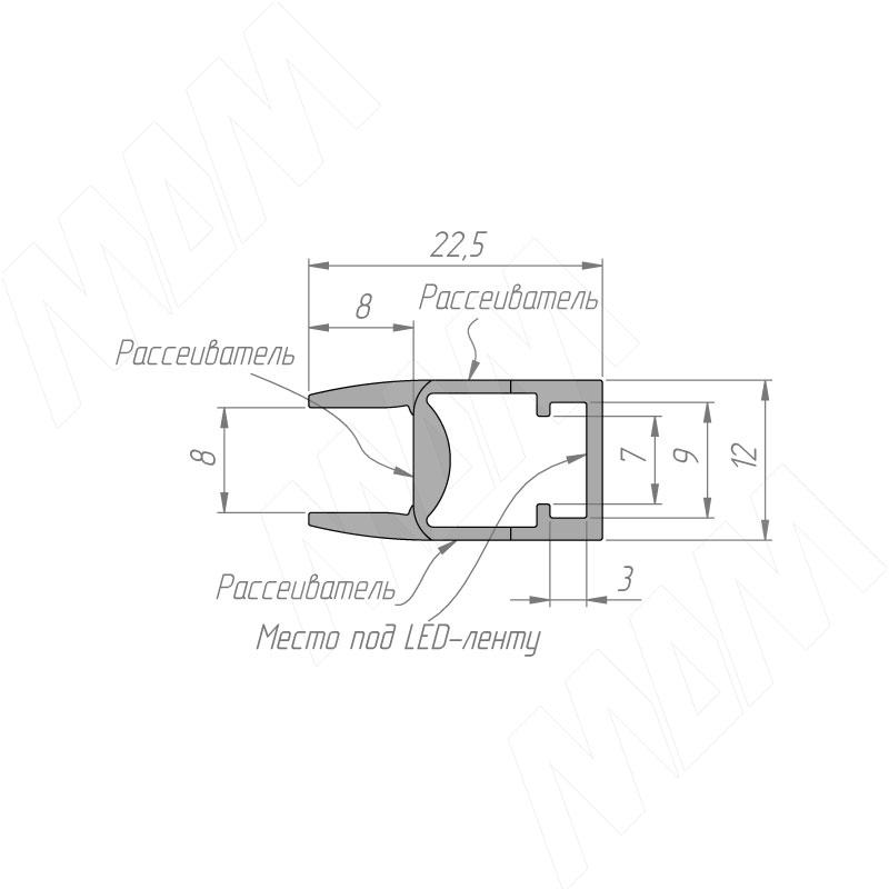 Профиль GL1 для торцевой подсветки стеклянной полки 4-8 мм, накладной, белый матовый, 23х12мм, L-2000 фото товара 7 - LSP-GL1-PC-2000-WT