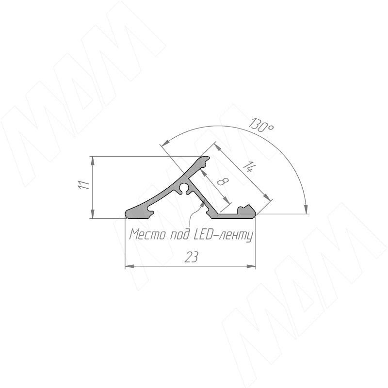 Профиль SM5, накладной, серебро, 23х11мм, L-3000 фото товара 3 - LSP-SM5-ALU-3000-AL