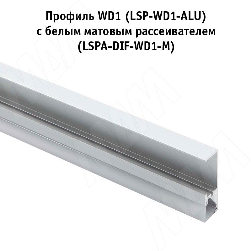 Профиль WD1 для торцевой подсветки деревянной полки, накладной, серебро, 35х12мм, L-2000 фото товара 2 - LSP-WD1-ALU-2000-AL