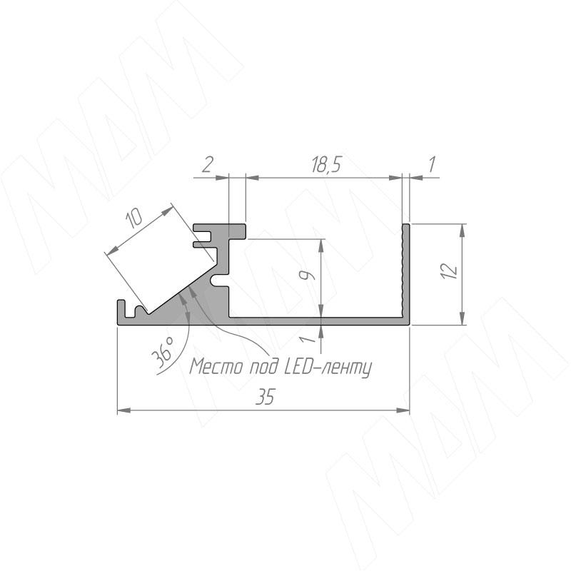 Профиль WD1 для торцевой подсветки деревянной полки, накладной, серебро, 35х12мм, L-2000 фото товара 6 - LSP-WD1-ALU-2000-AL