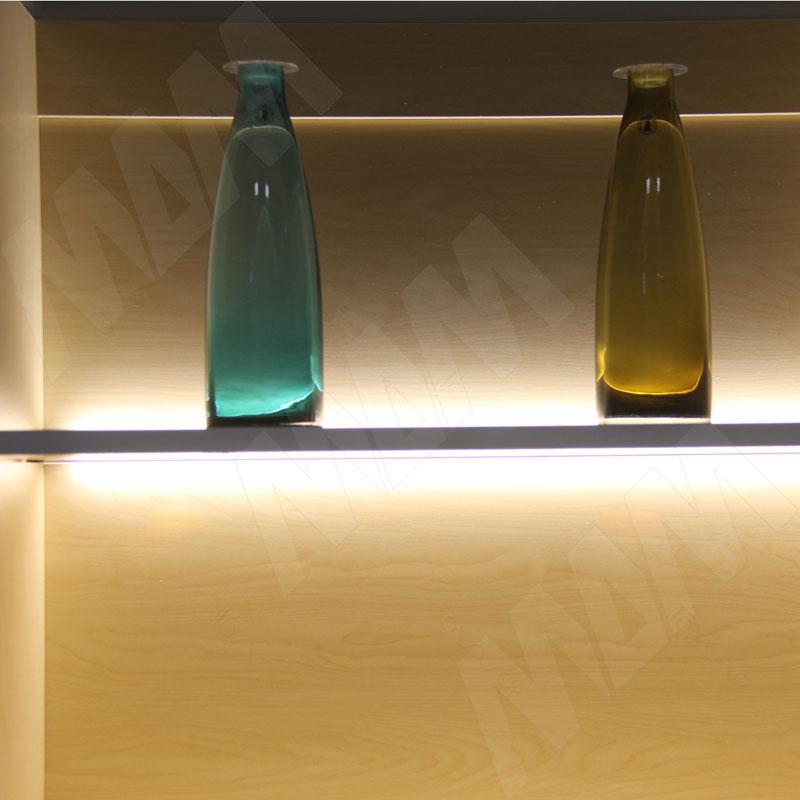 Профиль WD2 для торцевой подсветки деревянной полки, накладной, серебро, 12х21мм, L-2500 фото товара 4 - LSP-WD2-ALU-2500-AL