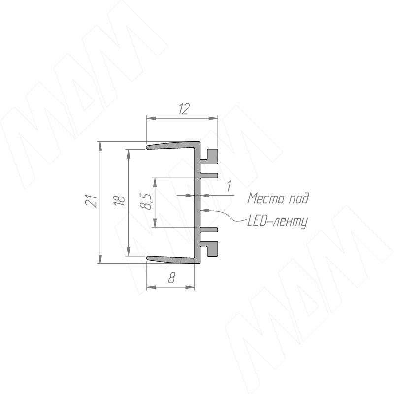 Профиль WD2 для торцевой подсветки деревянной полки, накладной, серебро, 12х21мм, L-2500 фото товара 6 - LSP-WD2-ALU-2500-AL