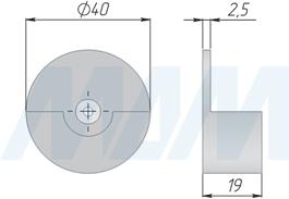 Размеры настенного держателя для пульта дистанционного управления выключателя CALL ME (артикул SW12/24-RC-AL)