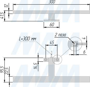 Размеры светодиодного светильника RECO для верхней подсветки (артикул RC220-300)