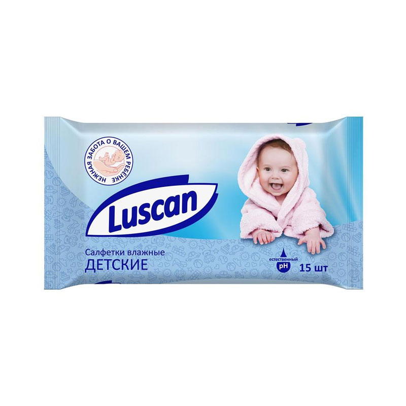 Салфетки влажные Luscan детские 15 шт (1027672)