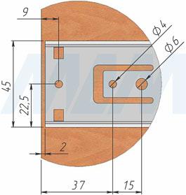 Схема установки шариковых направляющих VEKTOR BS45 PUSH-TO-OPEN высотой 45 мм полного выдвижения с толкателем, чертеж 2
