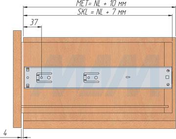 Схема установки шариковых направляющих VEKTOR BS45 PUSH-TO-OPEN высотой 45 мм полного выдвижения с толкателем, чертеж 3