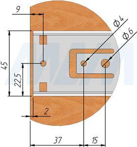 Схема установки шариковых направляющих VEKTOR BS45 SOFT высотой 45 мм полного выдвижения  с плавным закрыванием, чертеж 2