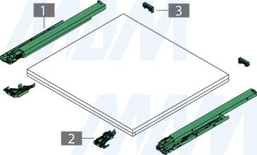 Схема комплекта направляющих DYNAMOOV  с креплением ко дну, с плавным закрывания и с масляным амортизатором (артикул F1301079)