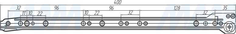 Размеры роликовых направляющих VEKTOR RS 400 мм (артикул RSL-400)