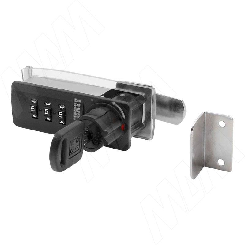 Замок с кодом для 1-ой двери, поворотный, правый, черный (DL-102 R BL)
