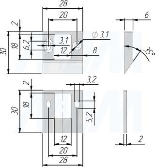 Размеры ответной планки для выдвижного электронного RFID замка INVISIBLE для 2-х раздвижных дверей (артикул SDCW-SL-125BK)