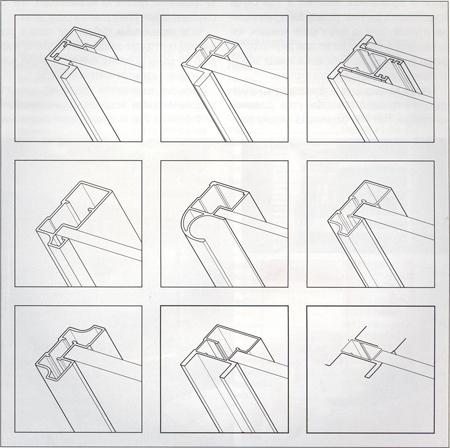 Примеры экструдированных вертикальных окантовочных профилей рамок раздвижных дверей