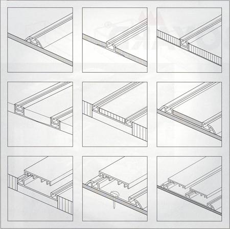 Способы крепления к полу накладных и врезных нижних направляющих дверей раздвижных перегородок