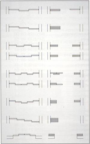 Схемы расположения дверей раздвижной перегородки шкаф-купе в закрытом и открытом положении с использованием от 2 до 4 рядов направляющих